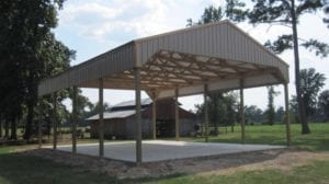 open agricultural storage construction by 5 starr metal builders in texas